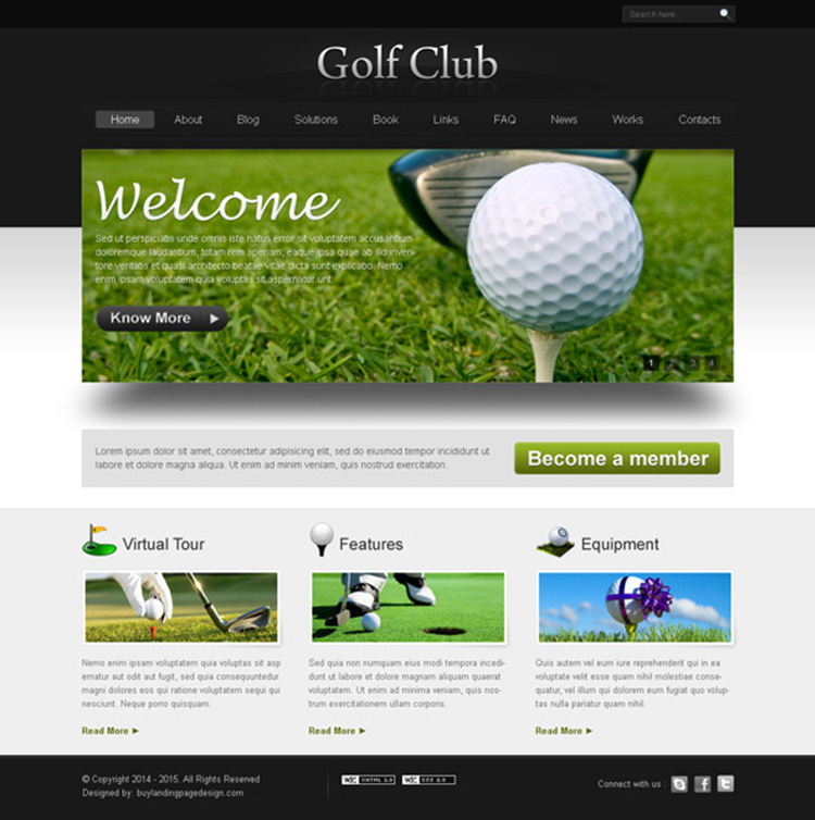 golf club website template design psd