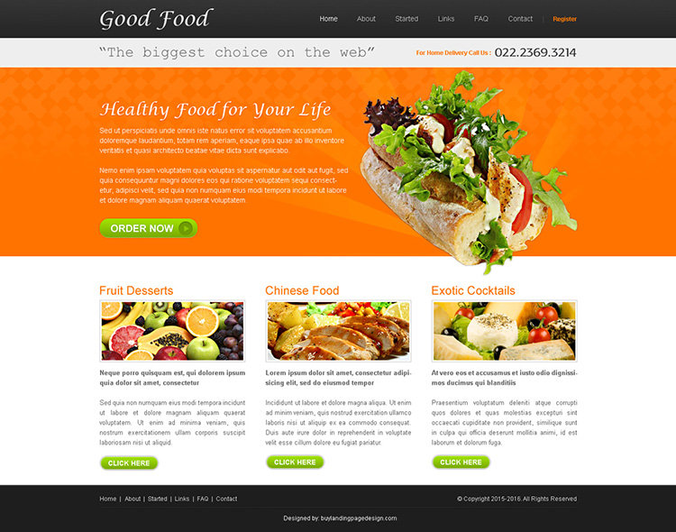 good food website template design psd