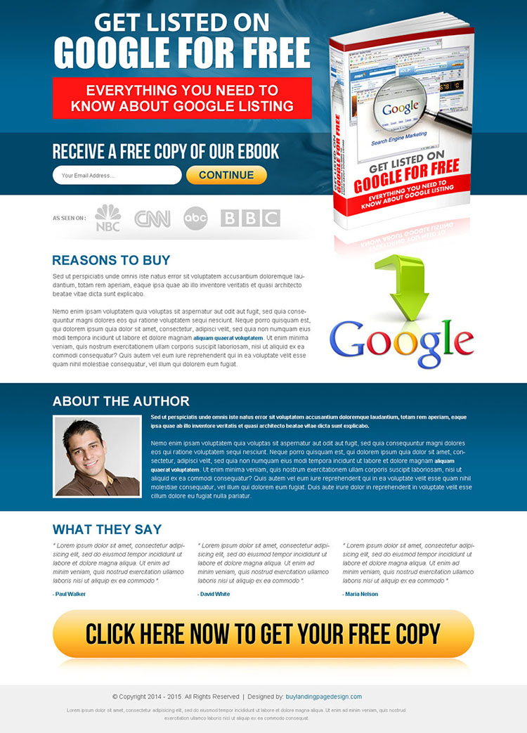 get listed on google for free ebook lead capturing landing page template