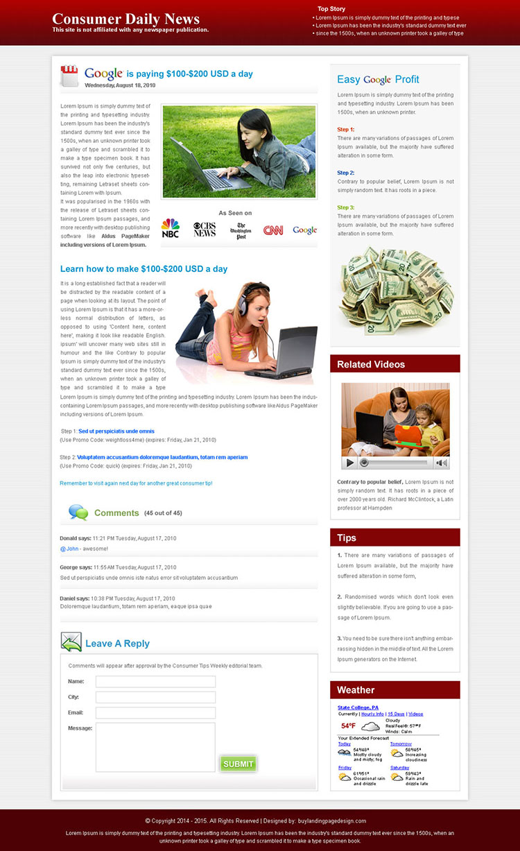 easy google profit daily news minimal effective and converting landing page
