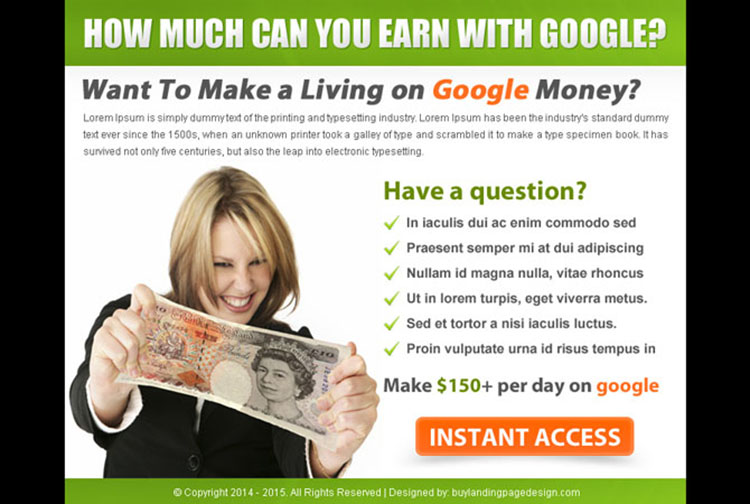 make a living with google money call to action ppv landing page design