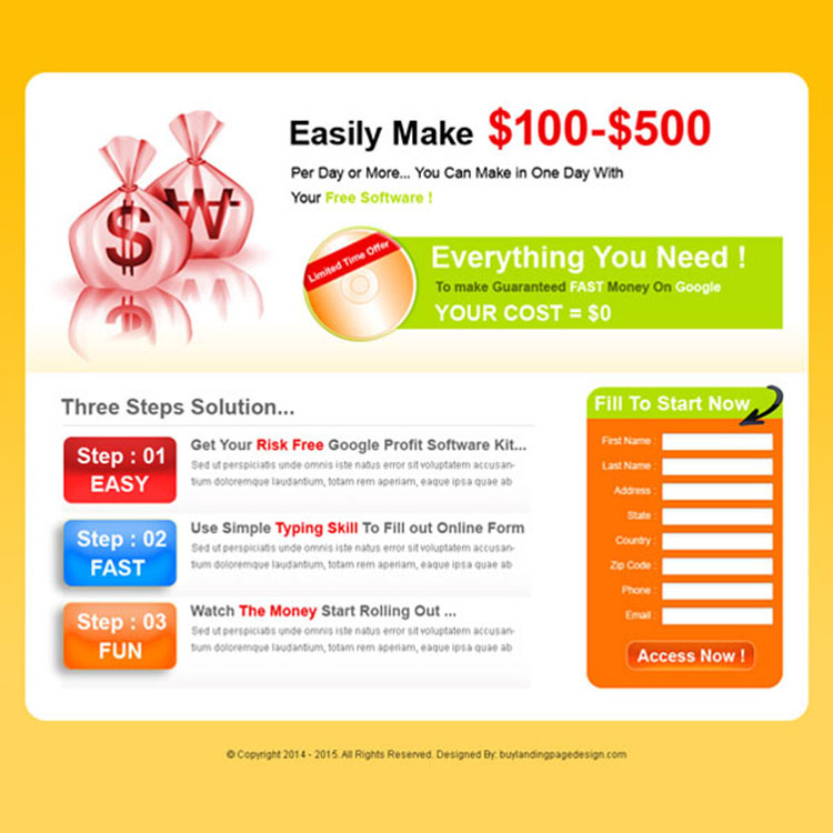 Google money landing page design template