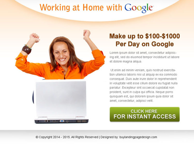 work from home with google ppv landing page design template