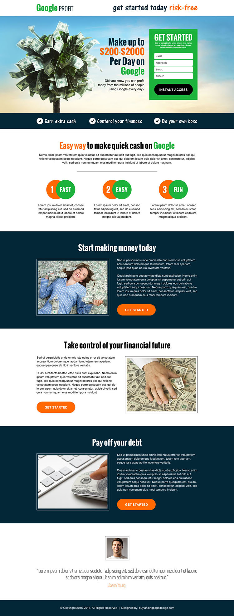 google money in cash responsive landing page design template