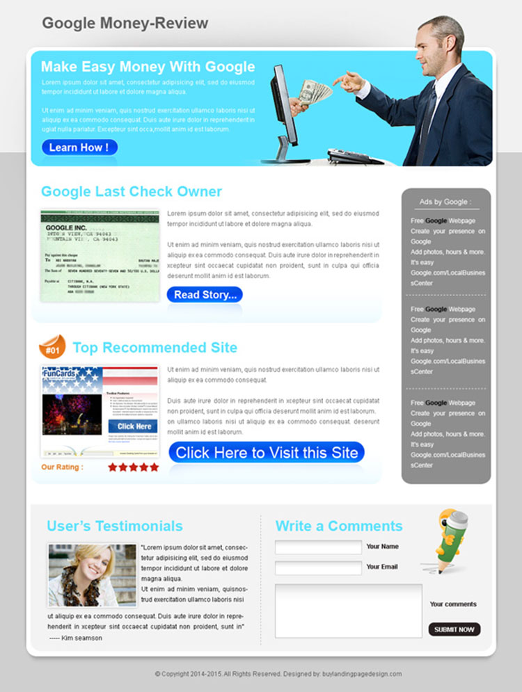 best google money review type html landing page design template