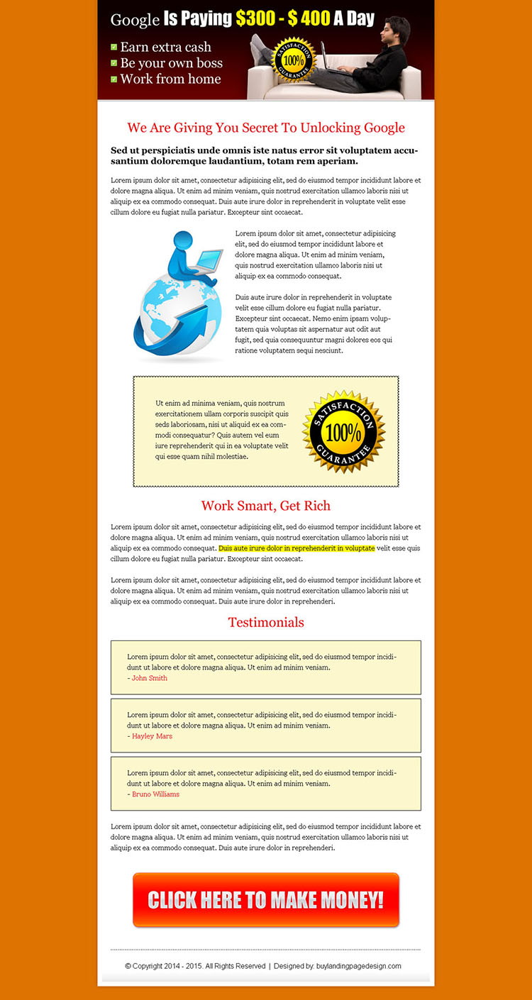 earn money with google long sales page click to action landing page