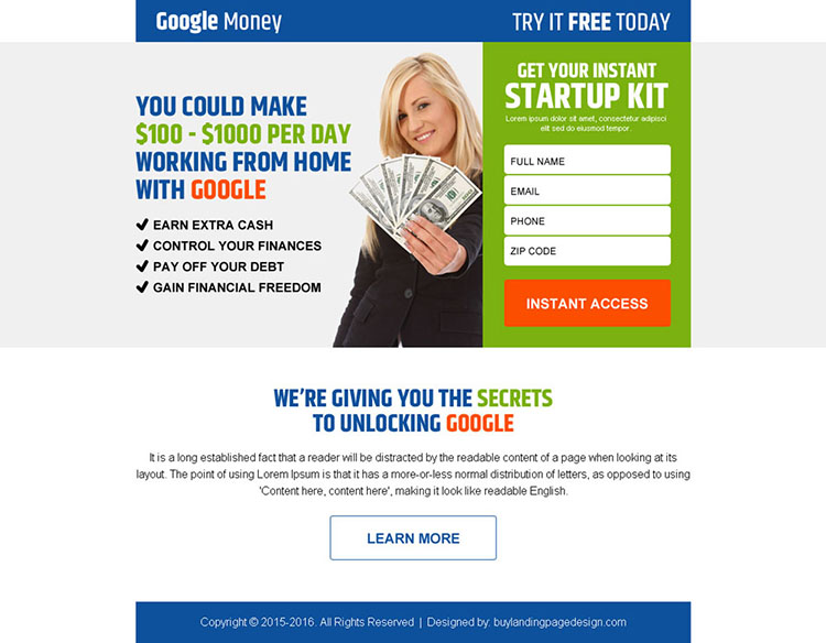 google money startup kit lead gen ppv landing page design