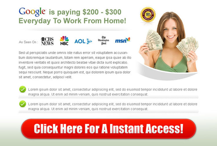 call to action ppv landing page design for google money instant access
