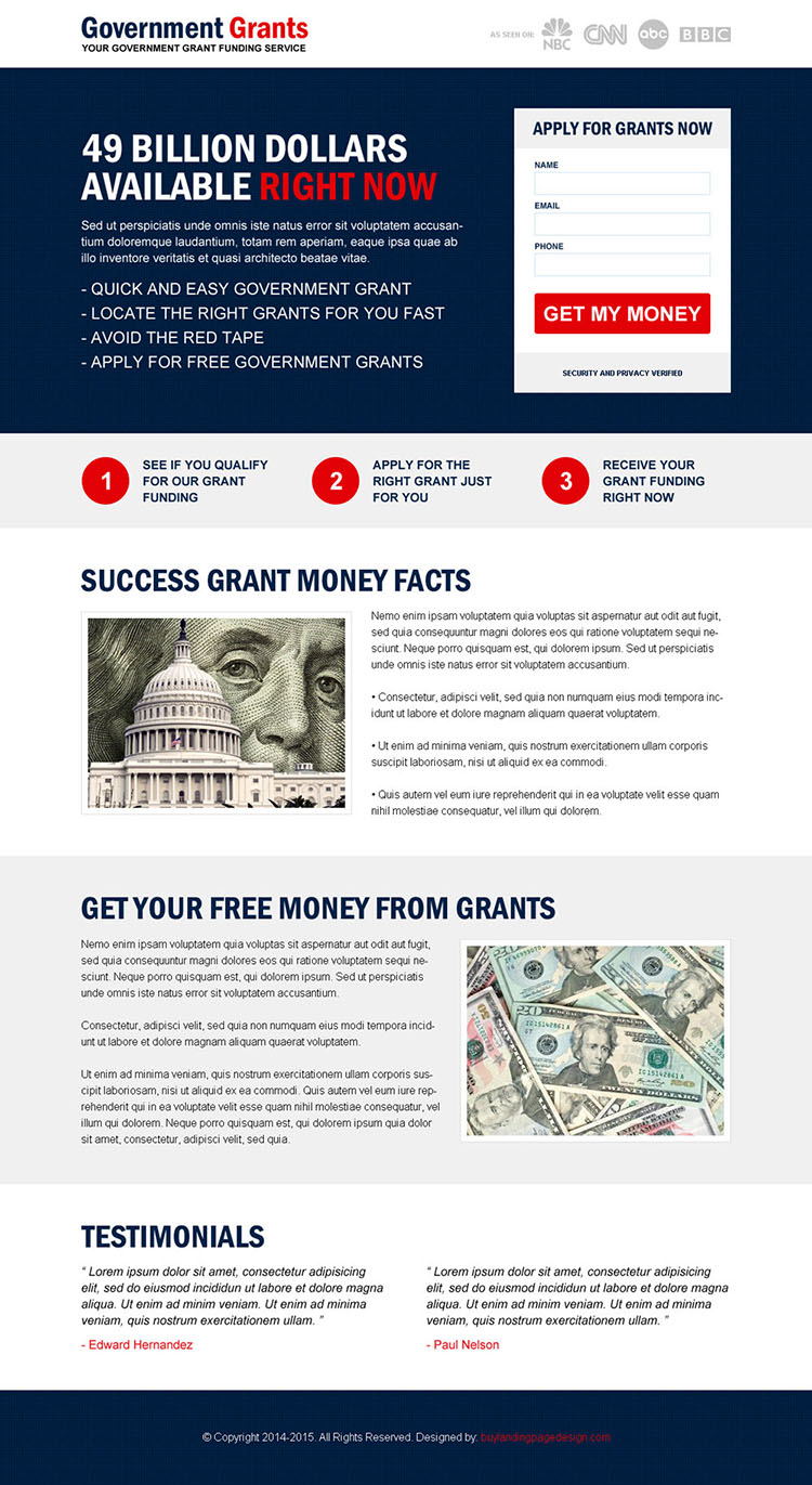 responsive government grants funding service landing page