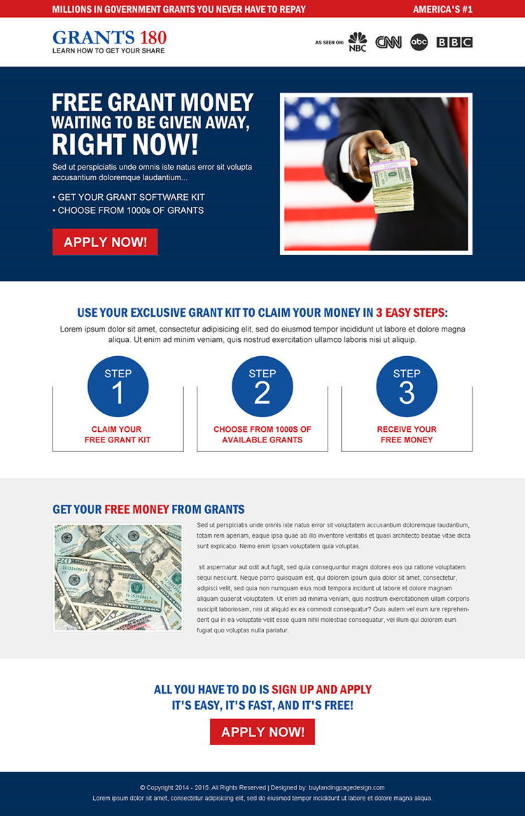 government grants responsive landing page design template