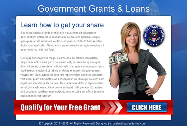 government grants and loan converting call to action ppv landing page design