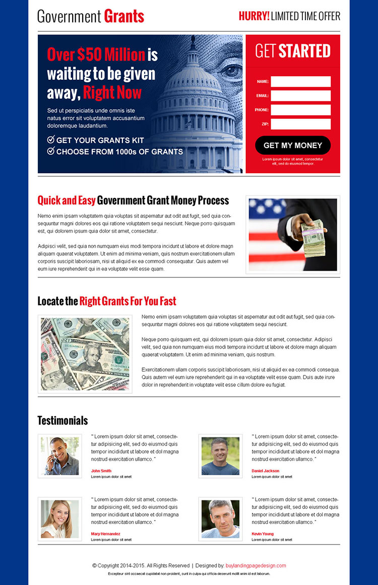 government grants small lead capture appealing landing page design to get your grant money