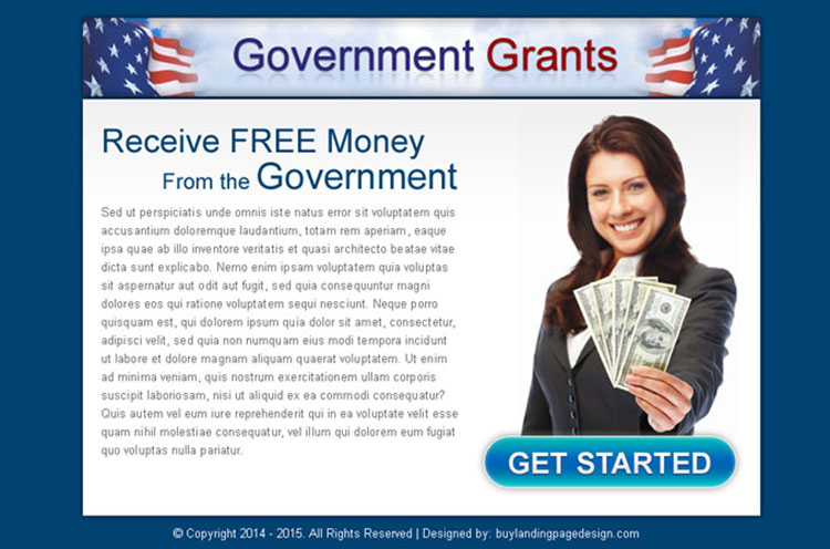 receive free money from government call to action ppv landing page design template