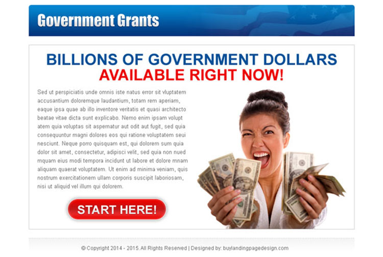 billions of government dollars available clean call to action ppv landing page design