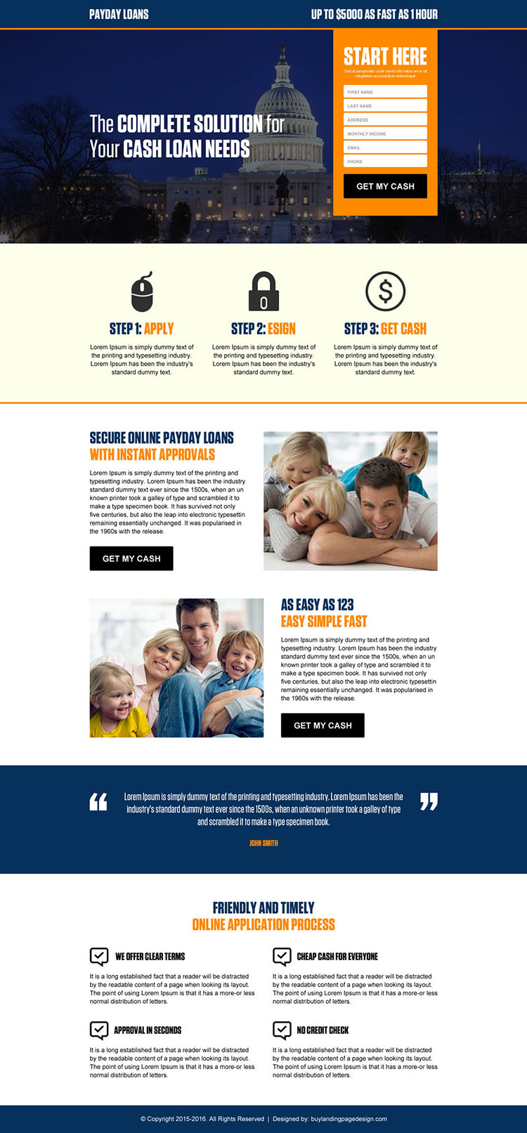 government payday loan lead gen landing page design