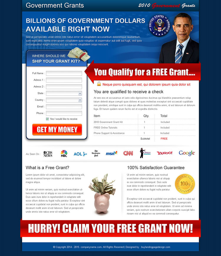 get free government grants squeeze page design