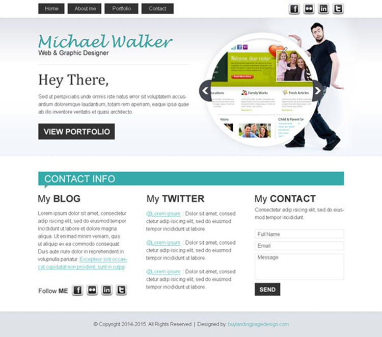 graphics designer converting personal website template design psd