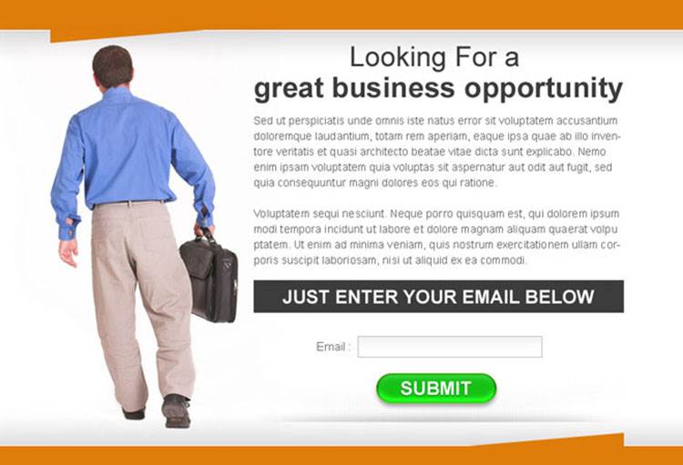 great business opportunity lead capture ppv landing page design