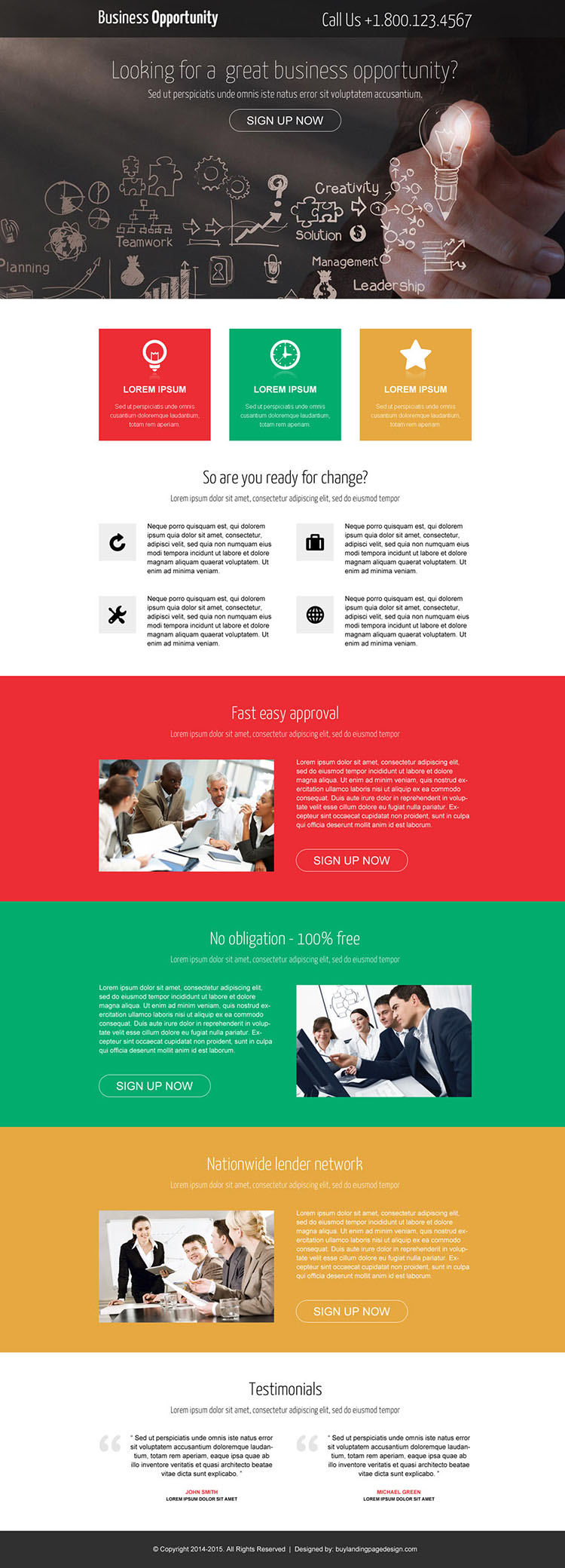 great business opportunity call to action landing page design