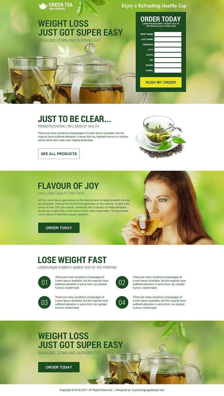 responsive green tea weight loss diet landing page design