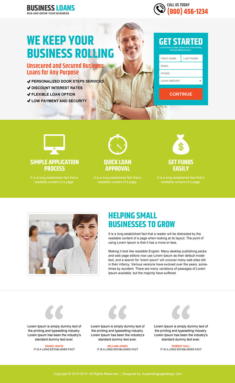 grow your business with loan small lead capture landing page design