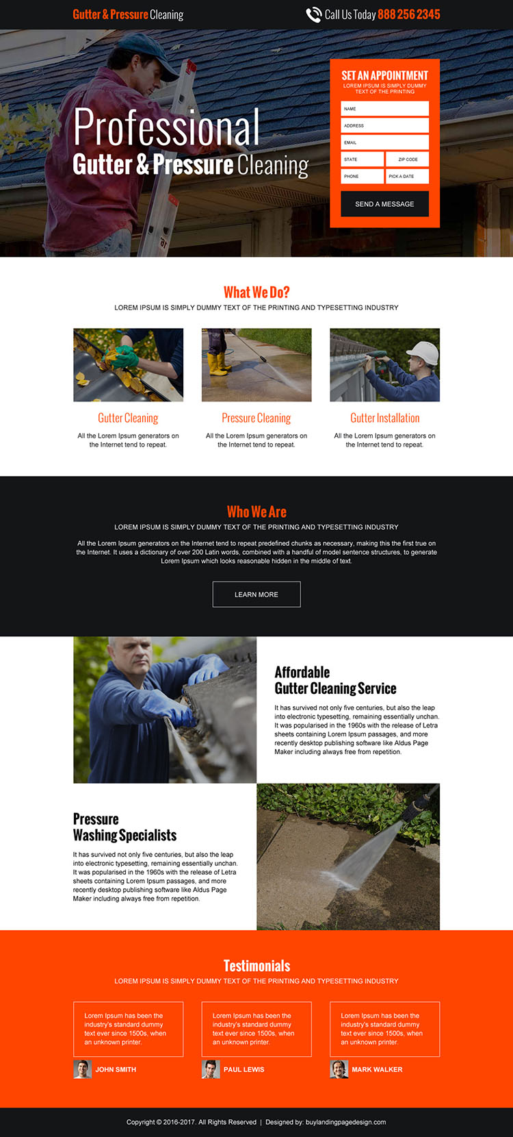gutter pressure cleaning lead generating landing page