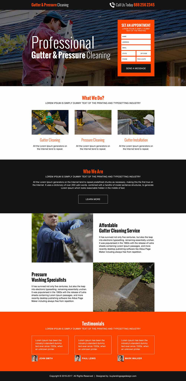 gutter pressure cleaning lead gen responsive landing page design