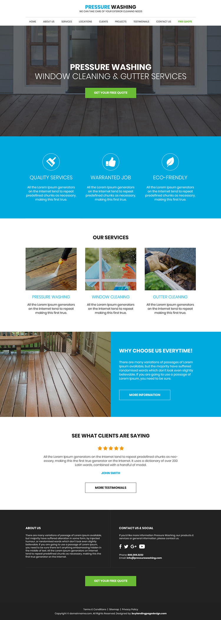 gutter and pressure cleaning responsive website design