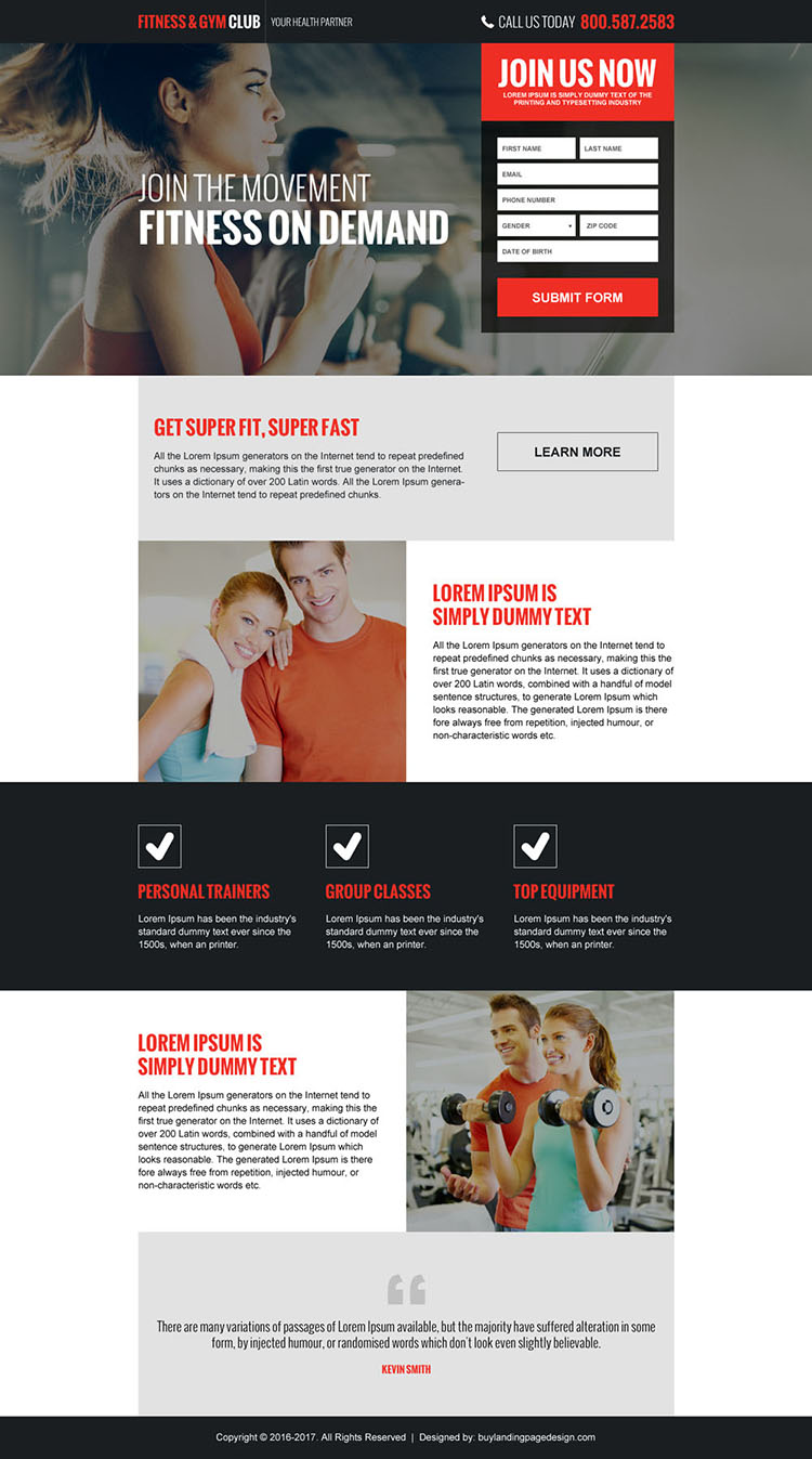 responsive health clubs and gym landing page