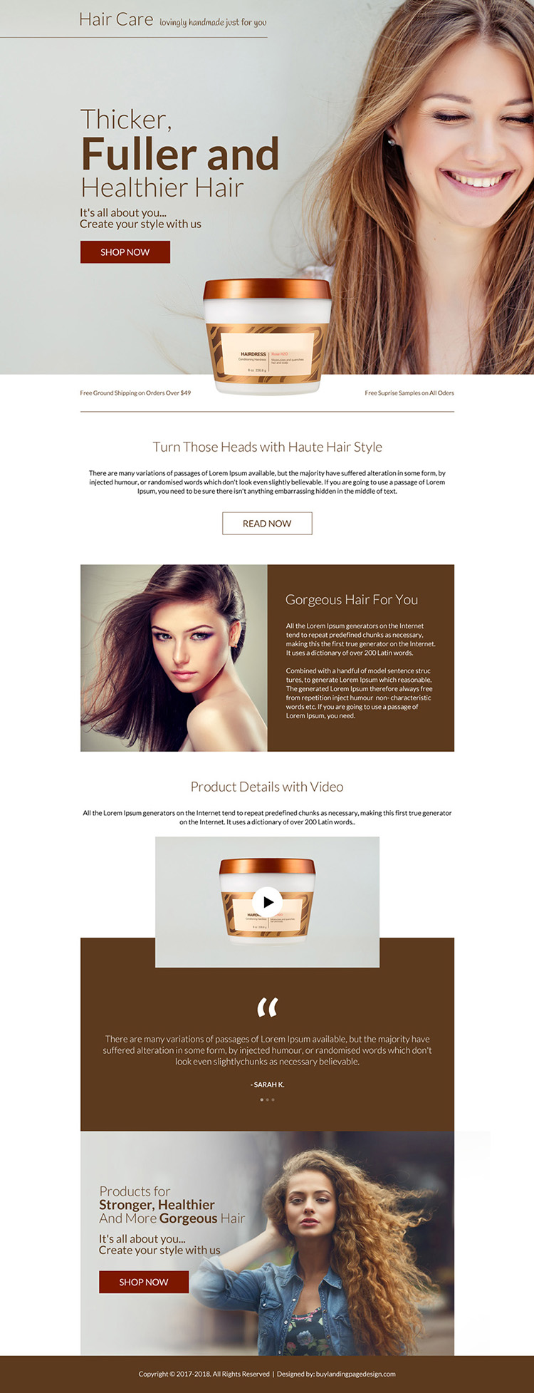 hair care product selling bootstrap landing page design