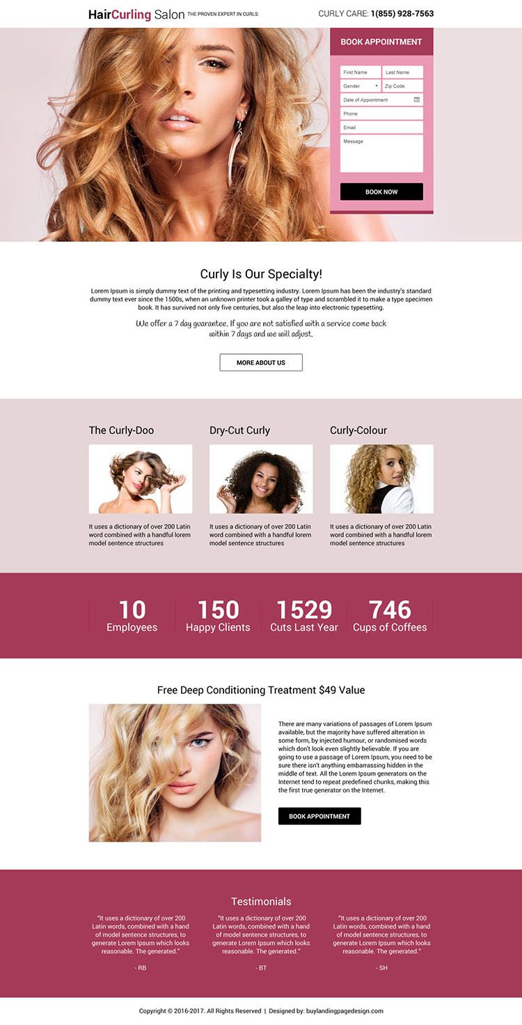 responsive hair curling salon online appointment booking landing page