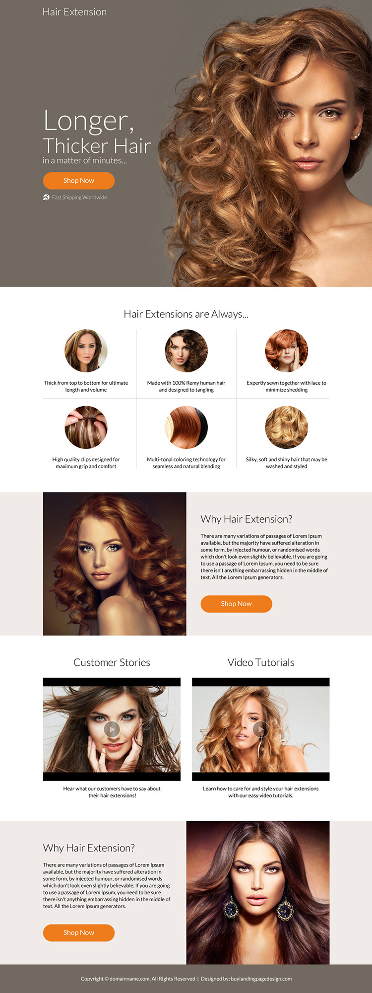 professional hair extension selling responsive landing page design