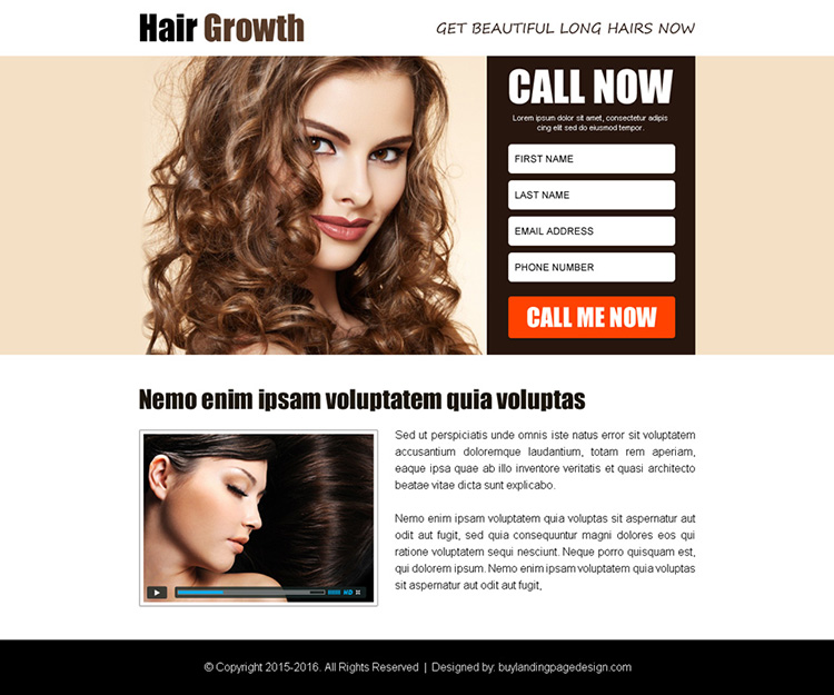 hair growth product selling ppv landing page design