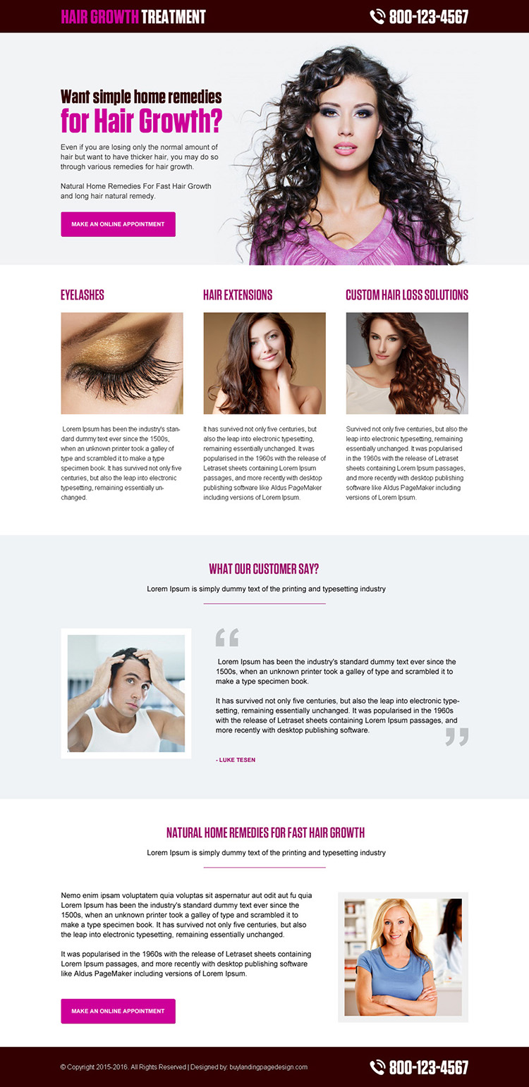 hair growth treatment clean and modern lead gen landing page design