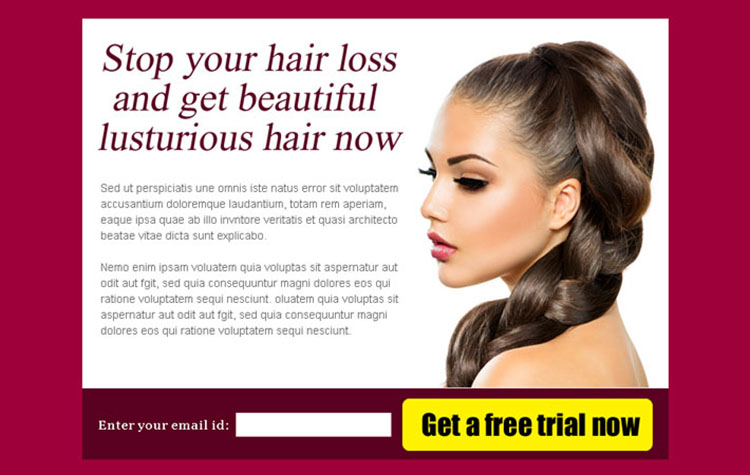 stop your hair loss and get beautiful hair now effective ppv landing page design
