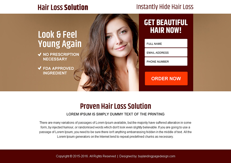 hair loss solution for long time pay per view landing page design