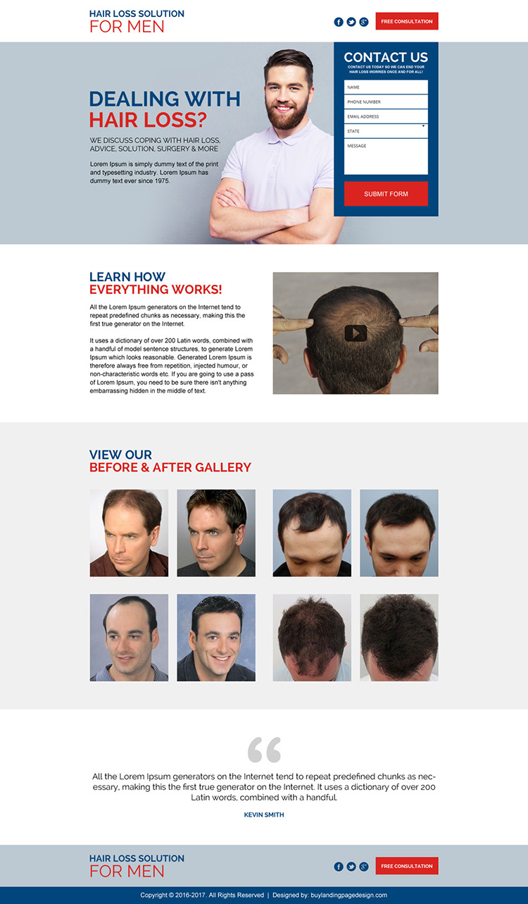 hair loss treatment for men lead capturing landing page
