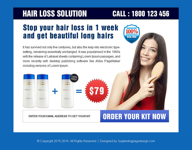 hair loss solution product kit ppv landing page design