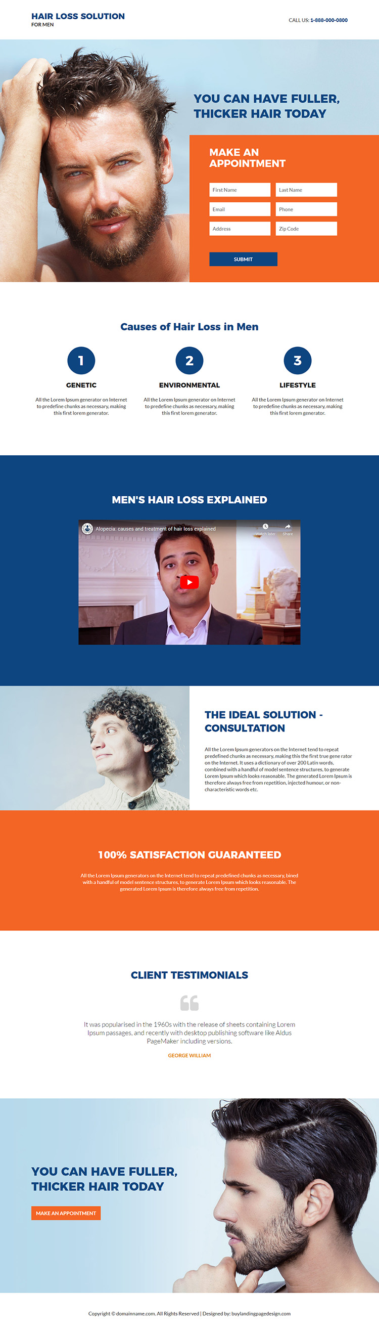 hair loss solution for men responsive landing page