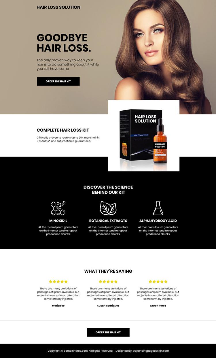 hair loss treatment kit selling mini landing page