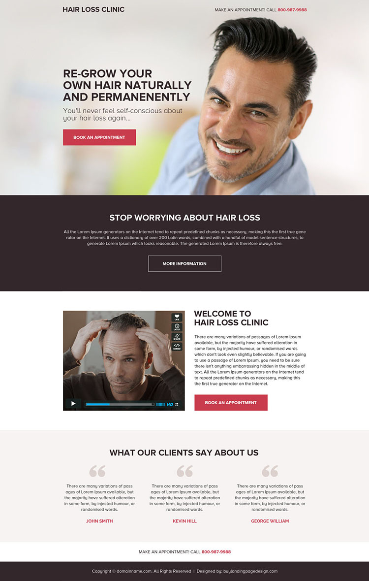 hair loss treatment appointment booking mini landing page design
