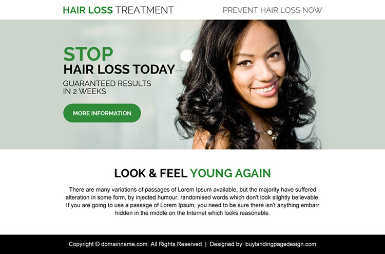 hair loss treatment call to action ppv landing page design