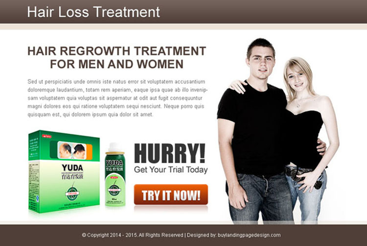 hair regrowth treatment for men and women converting ppv landing page design