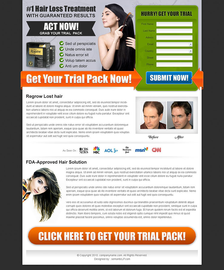 hair loss treatment lead capture squeeze page