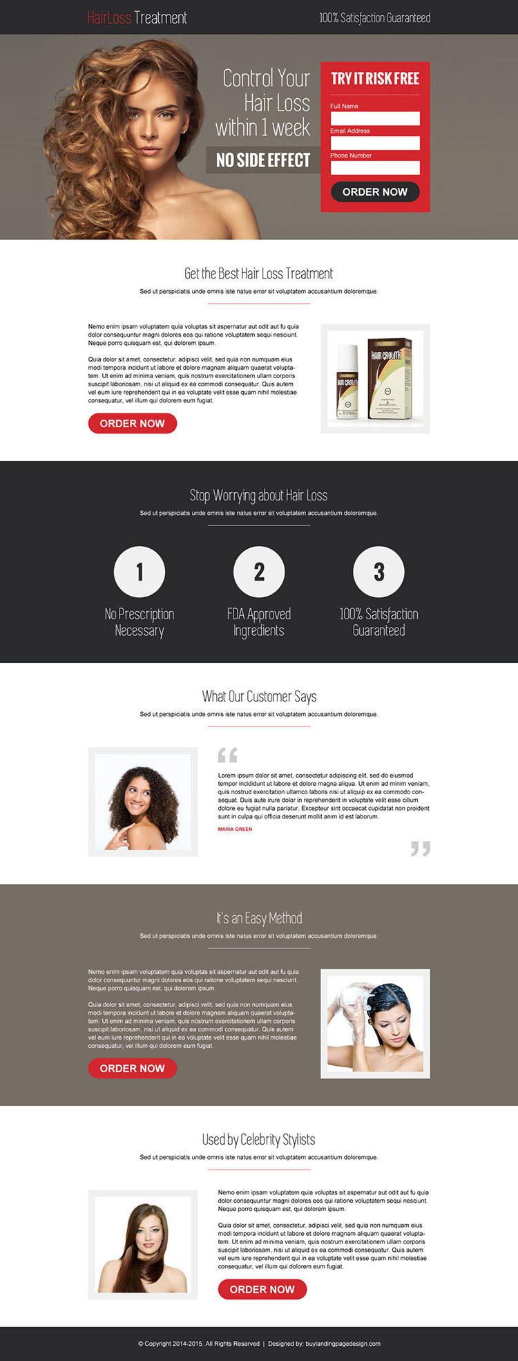 hair loss product selling lead capture responsive landing page design