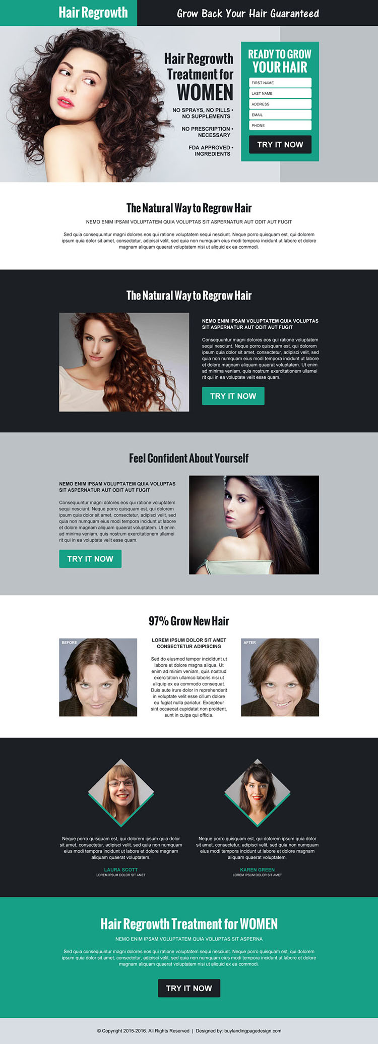 hair regrowth product selling lead capture landing page design