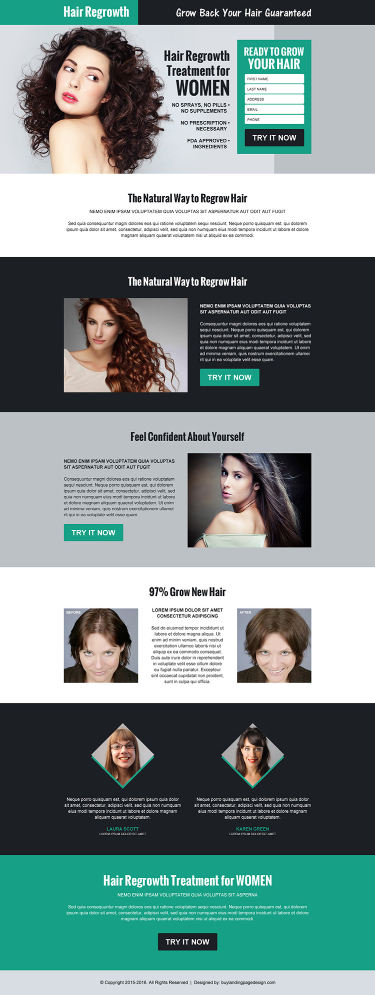hair regrow product selling responsive landing page design