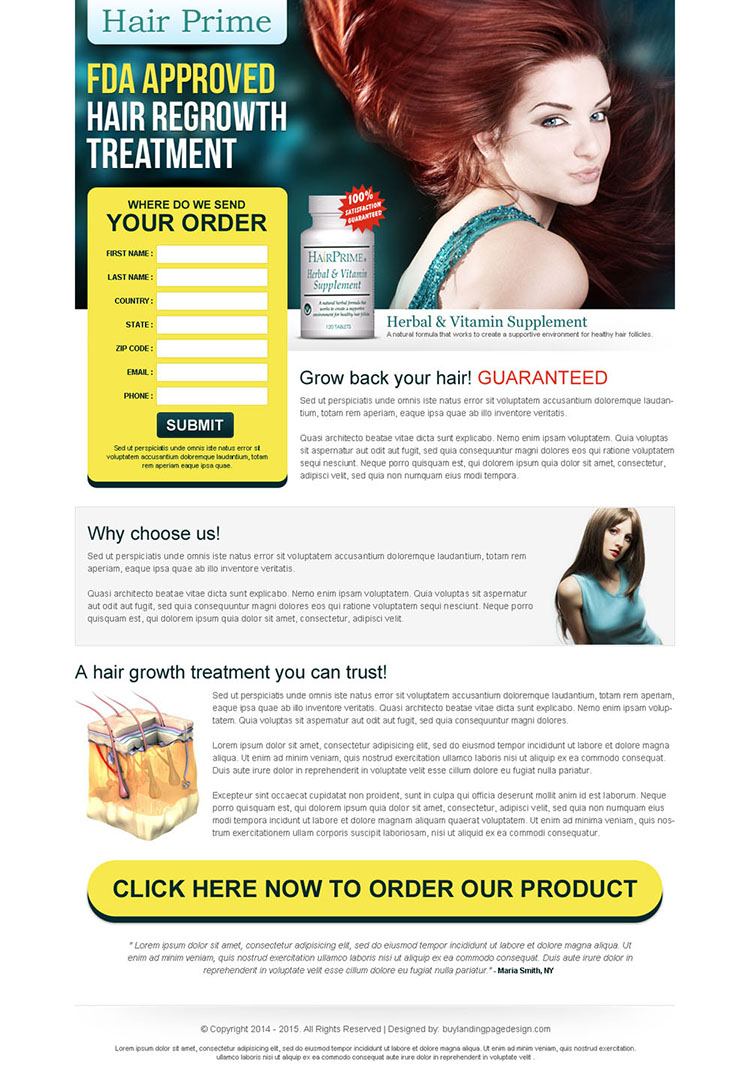 hair regrowth treatment clean and converting lead gen squeeze page design