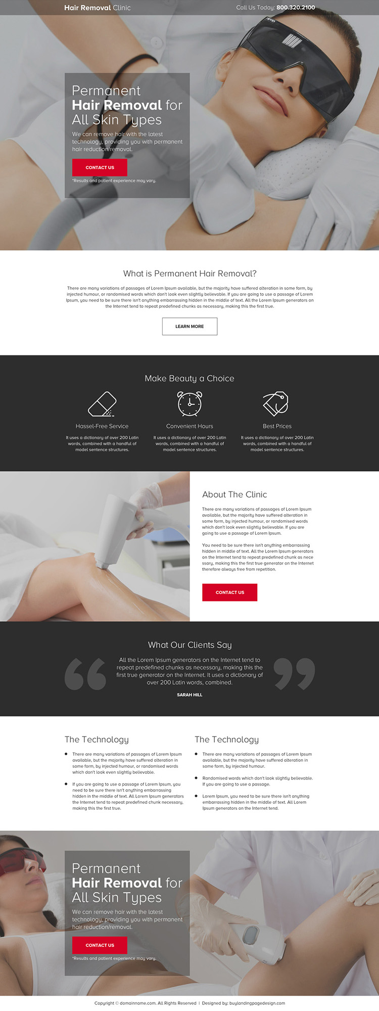 hair removal clinic responsive landing page design
