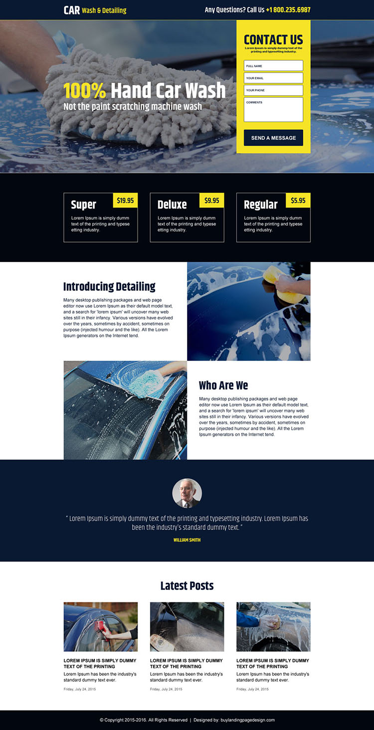 responsive hand car wash landing page design template